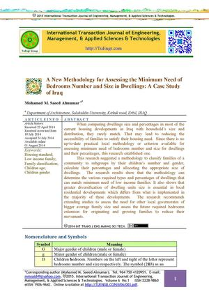 A New Methodology for Assessing the Minimum Need of Bedrooms Number and Size in Dwellings: A Case Study of Iraq