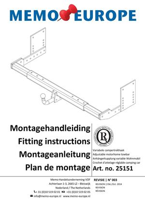 Montage handleiding variabele campertrekhaak - Fitting instructies Sliding motorhome towbar