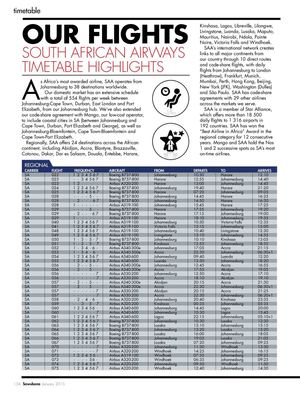 Our Flights South African Airways Timetable Highlights