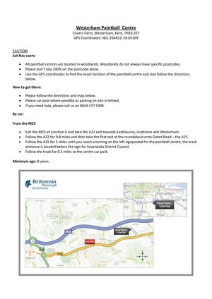 Britannia Westerham paintballing centre directions & map