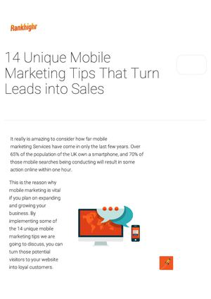 14 Unique Mobile Marketing Tips That Turn Leads Into Sales
