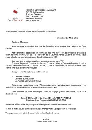 Courrier d'information  VINITOUR 66 2015