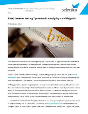 Best practices to write clear, concise contracts | Selectica Blog