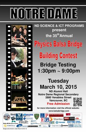 Physics Balsa Bridge Building Contest Sponsor Recognition 2015