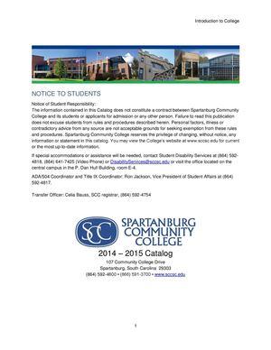 Spartanburg Community College 2014-2015 Catalog