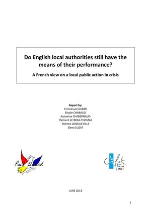 « Do English local authorities still have the means of their performance? » : étude INET