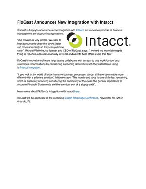 Flo Qast Announces New Integration With Intacct