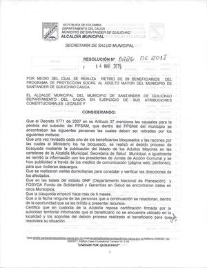Resolucion 0226 De 2015, Retiro Beneficiarios Programa Adulto Mayor