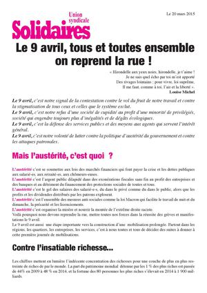 Action nationale 09/04/2015 Tract Solidaires