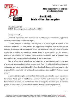 Fo Feets 9 Avril 2015 Courrier Secrétaires Syndicats