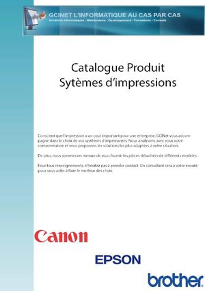 Catalogue Produit Impressions