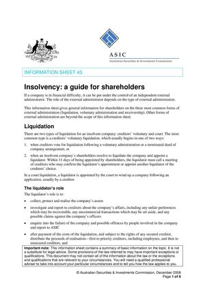 Insolvency A Guide For Shareholders