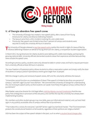 Campus Reform Writing Samples