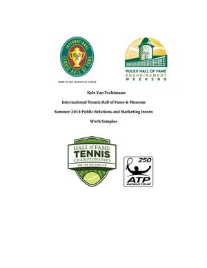 Tennis Hall Of Fame - 2014 Internship Work Examples