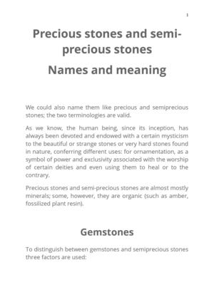 Precious Stones And Semi Precious Stones Names And Meaning