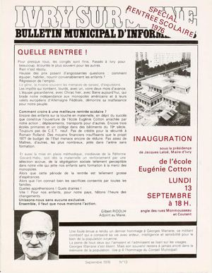 Bulletin municipal d'information - septembre 1976