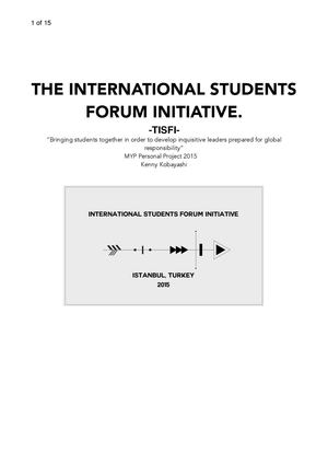 The International Students Forum Initiative