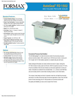 Formax FD 1502 Mid Volume Tabletop Pressure Spec Sheet