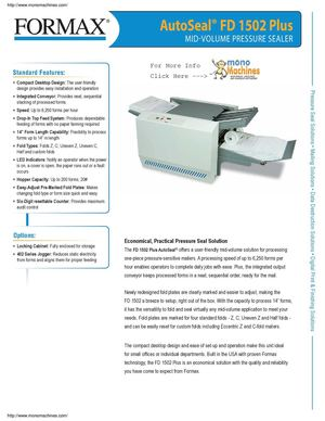 Formax FD 1502PLUS Mid Volume Pressure Sealer With Integrated Conveyer