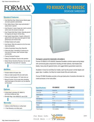 Formax FD 8302 Deskside Shredders Spec Sheet