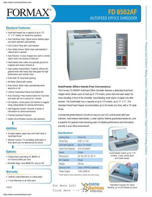 Formax FD 8502AF Auto Feed Office Cross Cut Shredder Spec Sheet