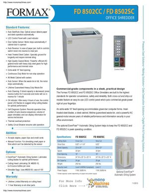 Formax FD8502cc Cross Cut Office Shredder Spec Sheet