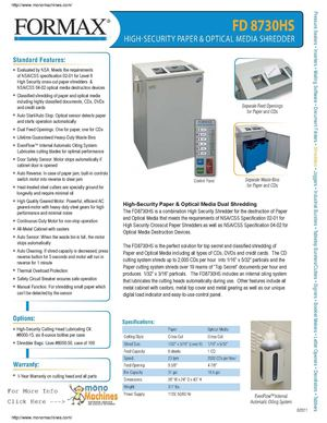 Formax FD 8730HS High Security Paper And Optical Media Shredder Spec Sheet