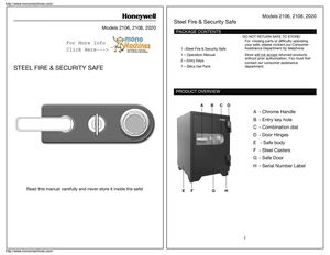 Honeywell 2108 Combination Fire & Water Resistant Safe Manual