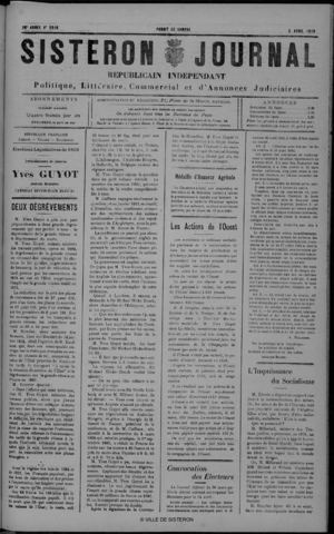 Le Sisteron Journal du 02/04/1910