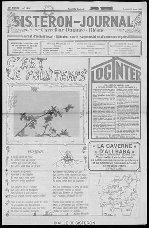 Le Sisteron Journal du 26/03/1983