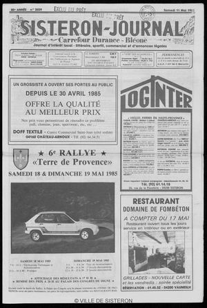 Le Sisteron Journal du 11/05/1985