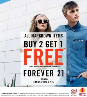 Buy 2 Get 1 Free On All Markdown Items At Forever 21 Valid Until 14 June 201567856 67856