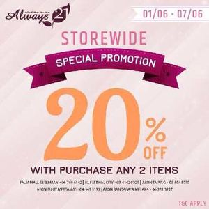 Enjoy 20 Off With Purchase Of Any 2 Items At Always 21 Valid Unti 7 June 201568159 68159