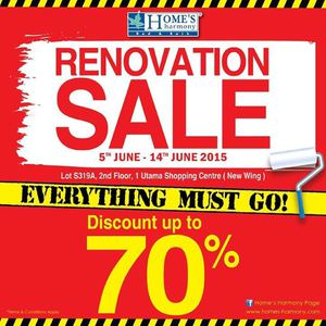 Renovation Sale With Up To 70 Off At Homes Harmony Valid From 5 14 June 201568175 68175