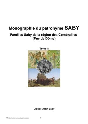 Tome 8 Familles Saby Combrailles