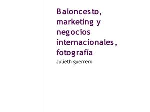Baloncesto, Marketing Y Negocios Internacionales