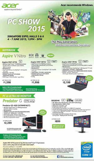Acer Pc Show 2015 At Singapore Expo Hall From June 4 7 201568218 68218
