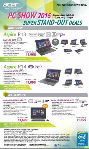 Acer Super Stand Out Deals At Singapore Expo Hall From June 4 7 201568220 68220