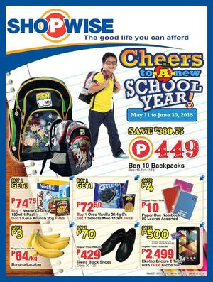 Cheers To A New School Year At Shopwise Offers Valid From May 11 To June 30 201568222 68222
