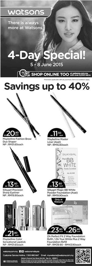 4 Day Specials Up To 40 Off At Watsons Offers Valid From June 5 8 2015 68223