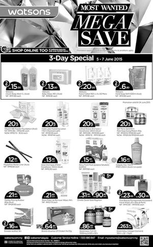 Most Wanted Mega Save 3 Day Special At Watsons Offers Valid From June 5 7 2015 68226