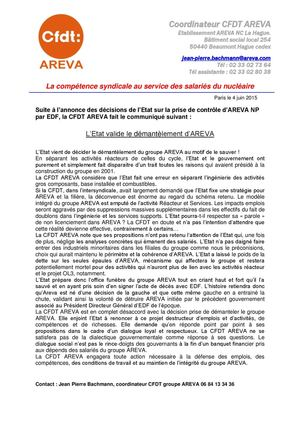 Situation Areva Cfdt