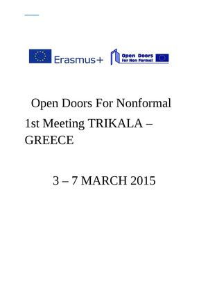 1st Project Meeting - Trikala - March 2015