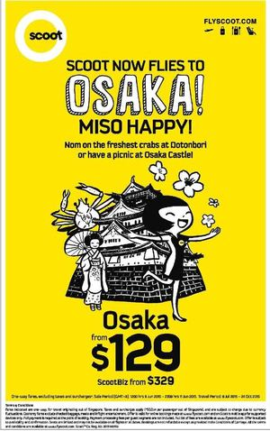 Fly To Osaka One Way Fare From 129 At Scoot Book From June 8 11 2015 68294