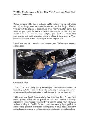 Well Liked Volkswagen Add Ons Help Vw Proprietors Make Their Personal Declaration
