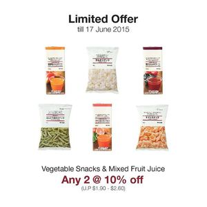 Enjoy 10 Off On Any 2 Vegetable Snacks Mixed Fruit Juice At Muji Valid Until 17 June 201568350 68350