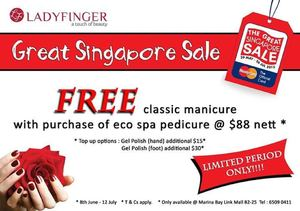 Enjoy Free Classic Manicure With Purchase Of Eco Spa Pedicure At Ladyfinger Until 12 July 201568442 68442
