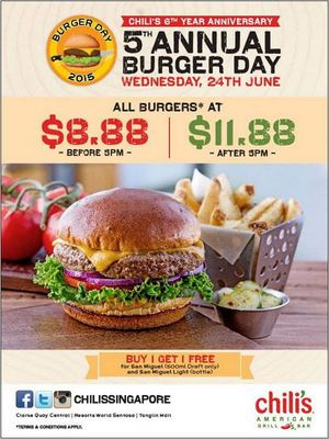Celebrate The 5th Annual Burger Day At Chilis 6th Year Anniversary Special On 24 June 201568443 68443
