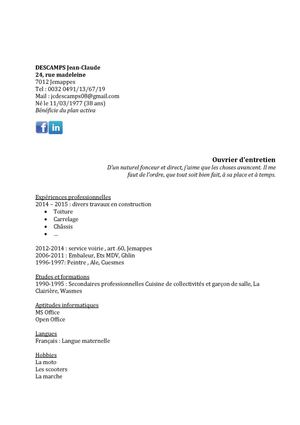Calaméo - Cv Descamps Jean Claude 2015 ouvrier polyvalent