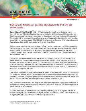 Calaméo - GMI Earns Certification as Qualified Manufacturer